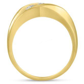 Men's 3/4ct Diamond Ring In 14K Yellow Gold, I-J-K, I1-I2