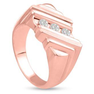 Men's 1/2ct Diamond Ring In 10K Rose Gold, I-J-K, I1-I2