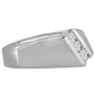 Men's 1/3ct Diamond Ring In 10K White Gold, I-J-K, I1-I2