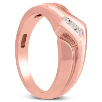 Men's 1/10ct Diamond Ring In 10K Rose Gold, G-H, I2-I3