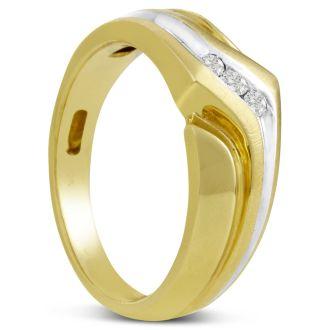 Men's 1/10ct Diamond Ring In 10K Two-Tone Gold, G-H, I2-I3