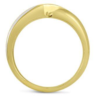 Men's 1/10ct Diamond Ring In 10K Two-Tone Gold, I-J-K, I1-I2