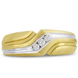 Men's 1/10ct Diamond Ring In 14K Two-Tone Gold, I-J-K, I1-I2