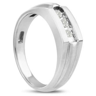 Men's 1/3ct Diamond Ring In 14K White Gold, I-J-K, I1-I2