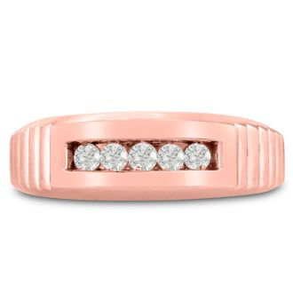 Men's 1/4ct Diamond Ring In 10K Rose Gold, G-H, I2-I3