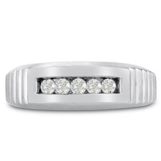 Men's 1/4ct Diamond Ring In 10K White Gold, G-H, I2-I3