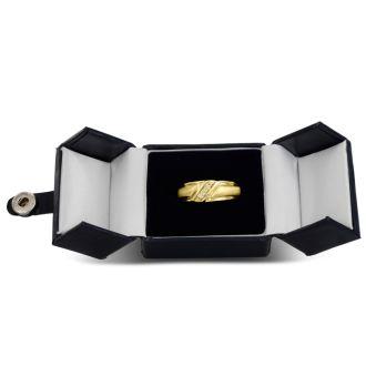 Men's 1/10ct Diamond Ring In 14K Yellow Gold, G-H, I2-I3