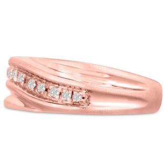 Men's 1/10ct Diamond Ring In 14K Rose Gold, I-J-K, I1-I2