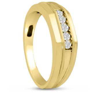 Men's 1/5ct Diamond Ring In 14K Yellow Gold, G-H, I2-I3