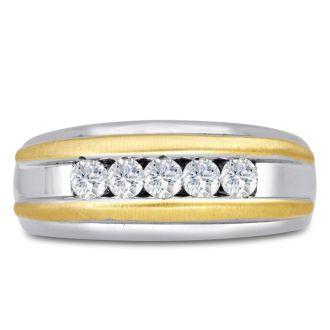 Men's 1/2ct Diamond Ring In 14K Two-Tone Gold, I-J-K, I1-I2