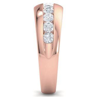 Men's 1ct Diamond Ring In 14K Rose Gold, I-J-K, I1-I2