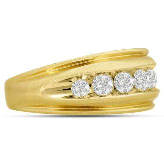 Men's 1ct Diamond Ring In 14K Yellow Gold, G-H, I2-I3