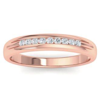 Men's 1/5ct Diamond Ring In 10K Rose Gold, I-J-K, I1-I2