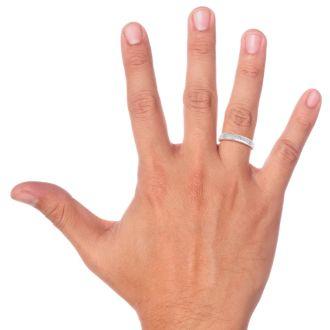 Men's 1/5ct Diamond Ring In 10K White Gold, I-J-K, I1-I2