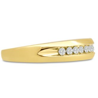 Men's 1/5ct Diamond Ring In 10K Yellow Gold, I-J-K, I1-I2