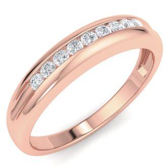 Men's 1/5ct Diamond Ring In 14K Rose Gold, I-J-K, I1-I2
