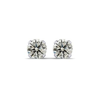 1 Carat Diamond Stud Earrings In 14 Karat White Gold