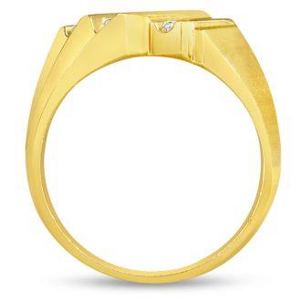 Men's 1/2ct Diamond Ring In 10K Yellow Gold, I-J-K, I1-I2