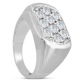 Men's 2ct Diamond Ring In 10K White Gold, G-H, I2-I3