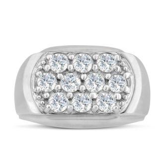 Men's 2ct Diamond Ring In 10K White Gold, I-J-K, I1-I2