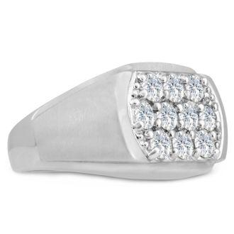 Men's 2ct Diamond Ring In 14K White Gold, I-J-K, I1-I2