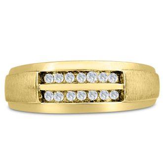 Men's 1/4ct Diamond Ring In 14K Yellow Gold, G-H, I2-I3