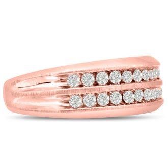Men's 2/3ct Diamond Ring In 14K Rose Gold, G-H, I2-I3