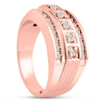Men's 4/10ct Diamond Ring In 10K Rose Gold, I-J-K, I1-I2