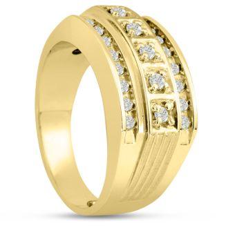 Men's 4/10ct Diamond Ring In 14K Yellow Gold, G-H, I2-I3