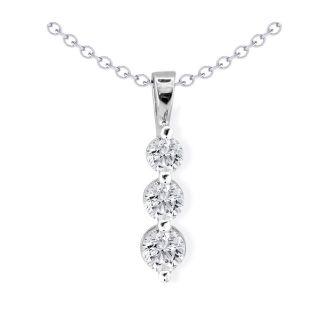 1/4ct Three Diamond Drop Style Diamond Pendant In 10k White Gold