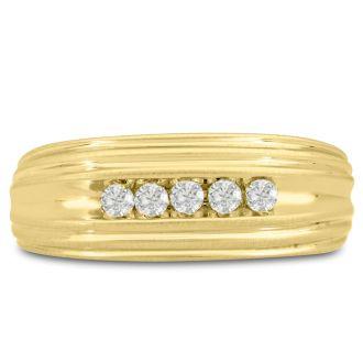 Men's 1/4ct Diamond Ring In 10K Yellow Gold, G-H, I2-I3