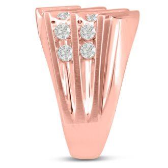 Men's 1 1/4ct Diamond Ring In 10K Rose Gold, G-H, I2-I3