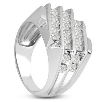 Men's 1 1/4ct Diamond Ring In 10K White Gold, I-J-K, I1-I2