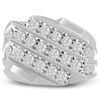 Men's 1 1/4ct Diamond Ring In 14K White Gold, G-H, I2-I3