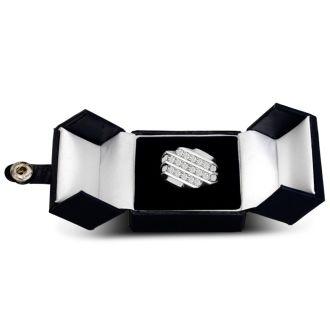 Men's 1 1/4ct Diamond Ring In 14K White Gold, I-J-K, I1-I2