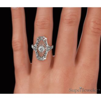 1/10ct Diamond Cathedral Ring in 14k White Gold