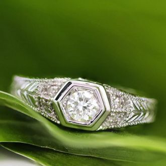 Antique 1/3 Carat Diamond Engagement Ring In 14 Karat White Gold. Also Available in Yellow and Rose.