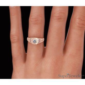 Antique 1/3ct Diamond Engagement Ring In 14 Karat Rose Gold
