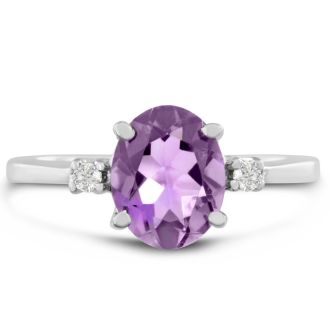 1 3/4ct Oval Amethyst And Diamond Ring In 14 Karat White Gold