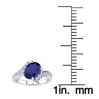 1 1/5ct Oval Sapphire And Diamond Ring In 14 Karat White Gold