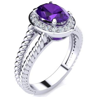 1 1/2ct Oval Shape Amethyst and Diamond Ring In 14 Karat White Gold