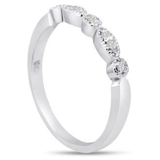 1/10ct Diamond Wedding Band In 14 Karat White Gold