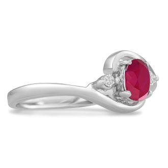 1/2ct Ruby and Diamond Ring In 14 Karat White Gold