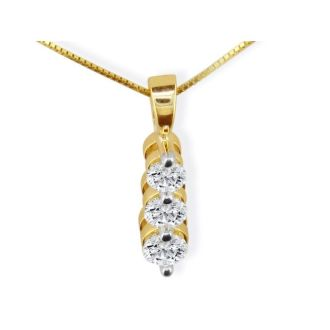 Beautiful 1/2ct Three Diamond Drop Diamond Pendant In 14k Yellow Gold