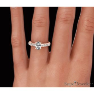 1 1/3 Carat Oval Shape Diamond Engagement Ring Crafted in 14 Karat Rose Gold