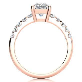 1 2/5ct Princess Cut Diamond Engagement Ring Crafted in 14 Karat Rose Gold
