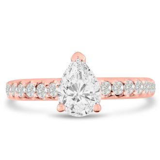1 1/3 Carat Pear Shape Diamond Engagement Ring In 14 Karat Rose Gold