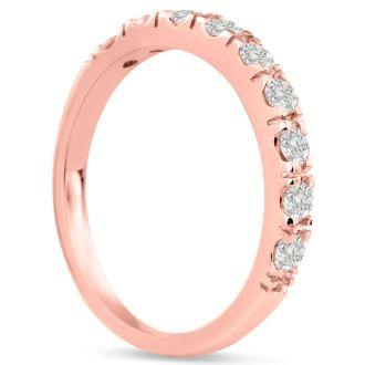1/2ct Diamond Wedding Band In 14 Karat Rose Gold