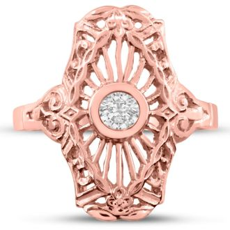 1/10ct Diamond Cathedral Ring in 14k Rose Gold