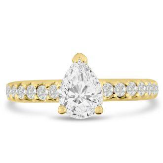 1 1/3 Carat Pear Shape Diamond Engagement Ring In 14 Karat Yellow Gold